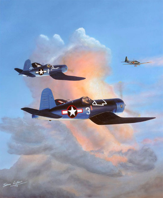Chasing-the-Sun, Aviation Art by Sam Lyons