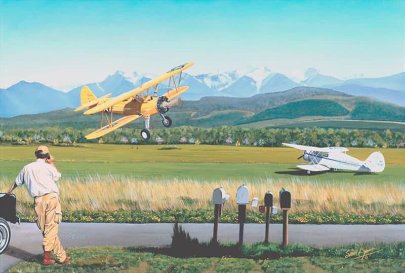 Aviation Art by Sam Lyons, the PT-17 Stearman pilot circles to check his mailbox.