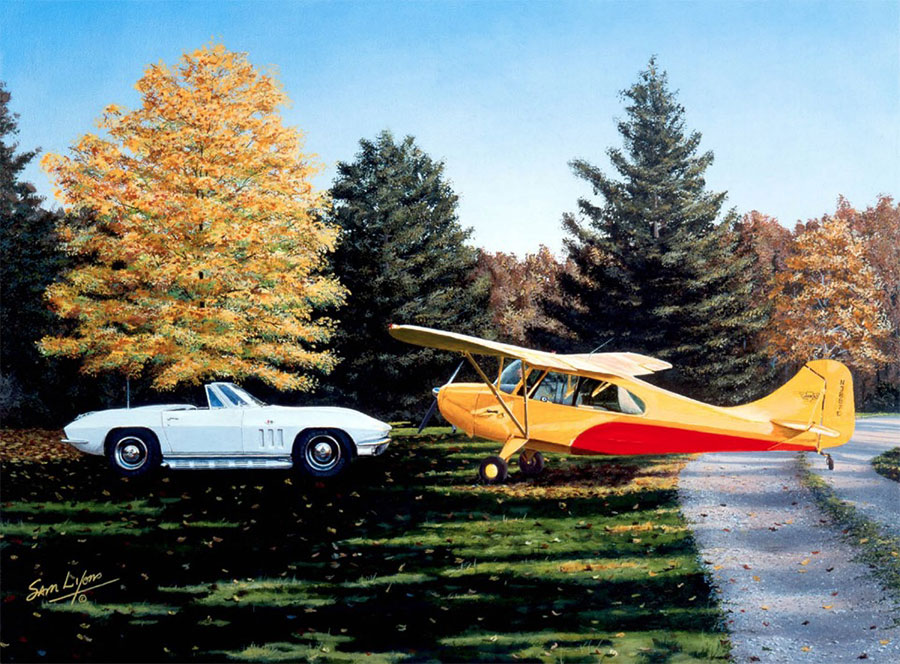 Classic Toys, Aviation Art by Sam Lyons depicting the Aeronca Champ and the 1965 Corvette classics.
