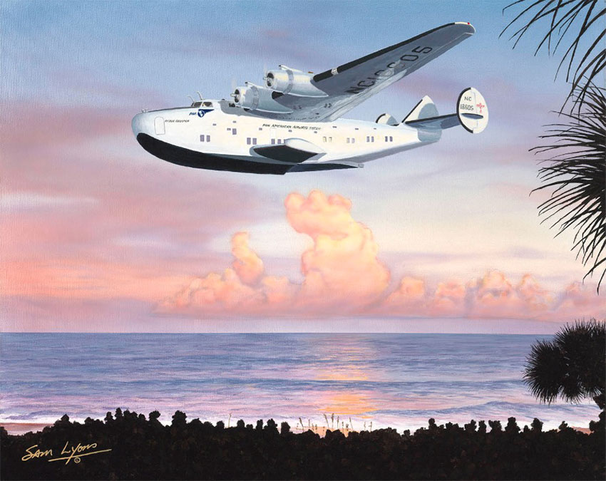 Aviation Art by Sam Lyons 'Clipper in Paradise' featuring a Dixie Clipper in a tropical setting.