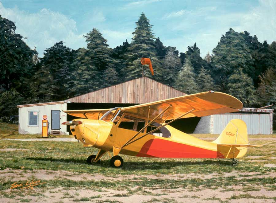 Aviation Art by Sam Lyons 'Cross-Country-Champ' features an Aeronca Champ