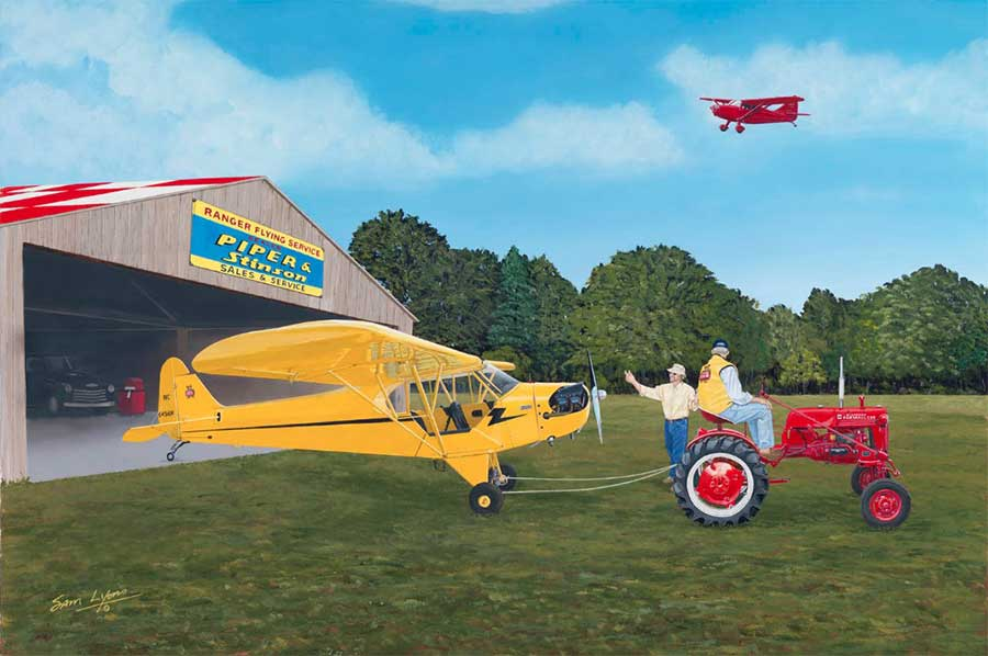 'Cub Buddies', Aviation Art by Sam Lyons featuring a Piper Cub and an International Harvester Farmall Cub tractor.