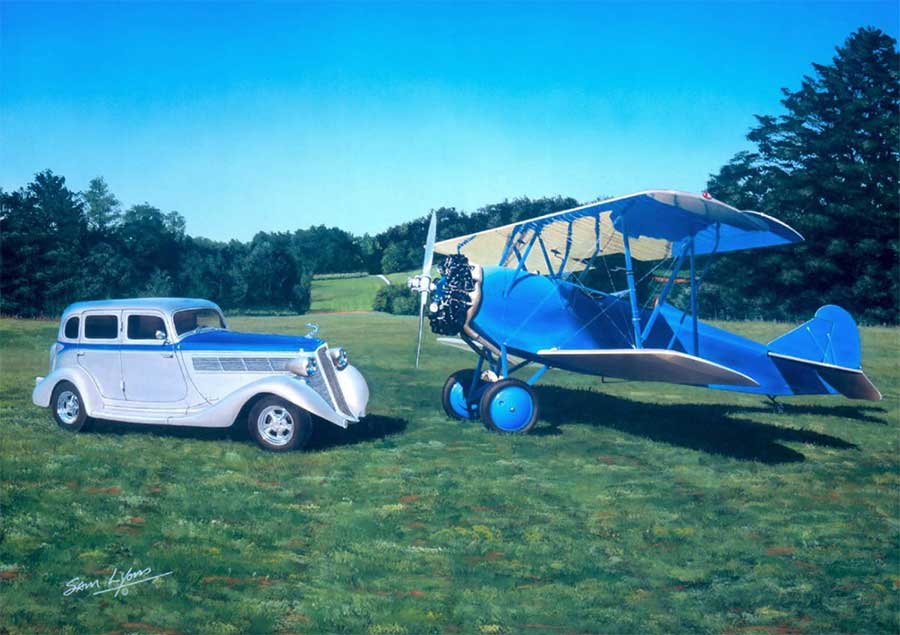 'Decisions Decisions', Aviation Artwork by Sam Lyons of a 1935 Studebaker Commander and a 1929 TravelAir 3000.