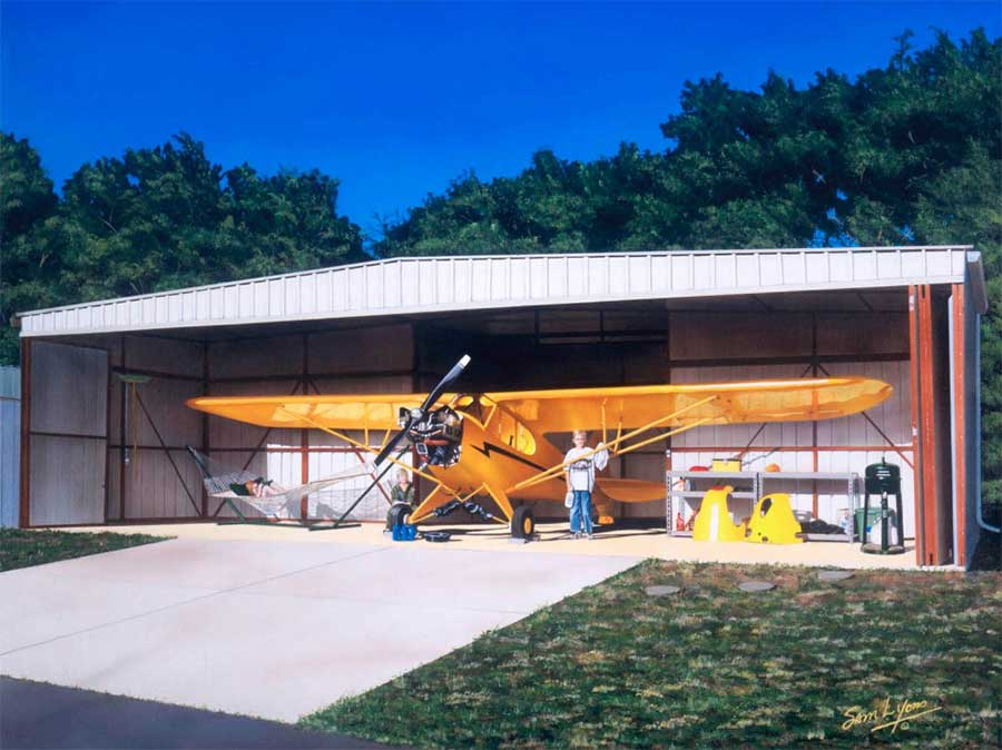 'Every 25 Hours', Aviation Artwork by Sam Lyons depicts a J-3 Piper Cub.