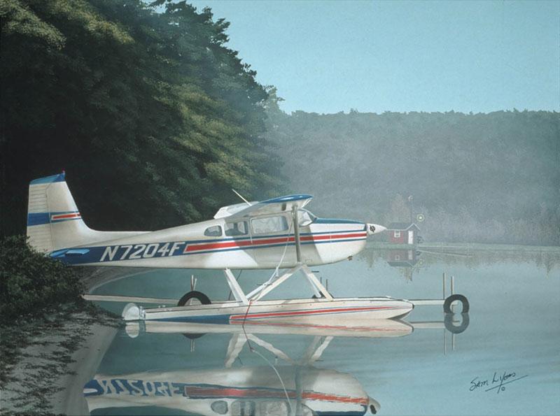 Aviation Art by Sam Lyons, Misty Morning