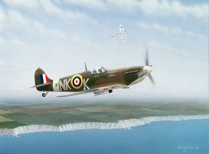 On Patrol, Spitfire MK II, Aviation Art by Sam Lyons.