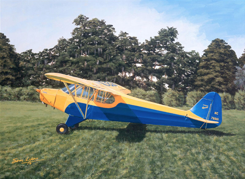 Aviation Art by Sam Lyons, Plantation Piper