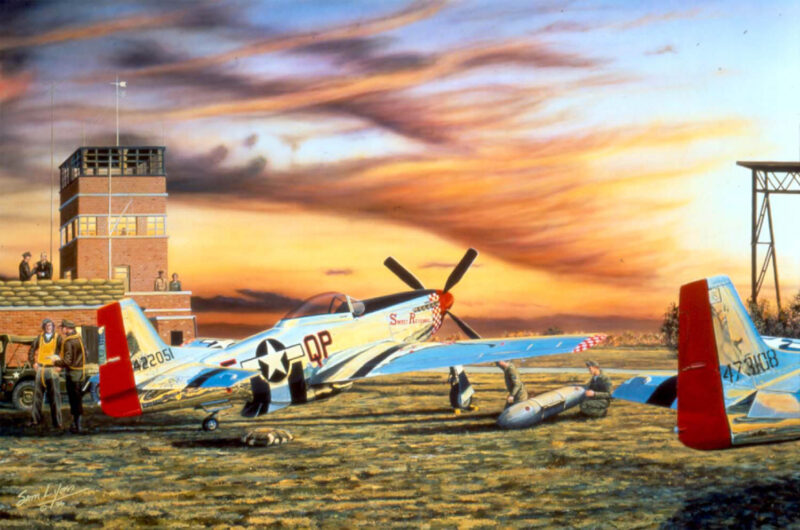 Aviation Art by Sam Lyons, Prelude to Victory, 4th Fighter Group