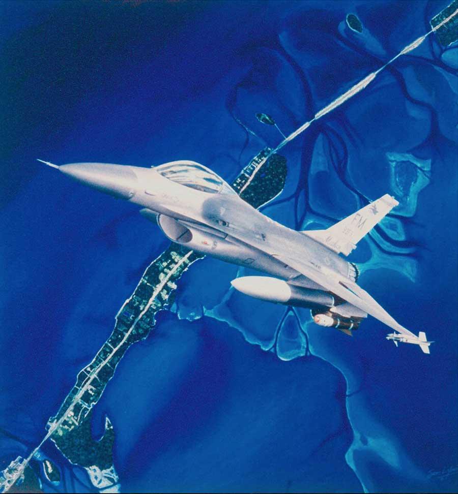 Aviation Art by Sam Lyons, Shark Attack