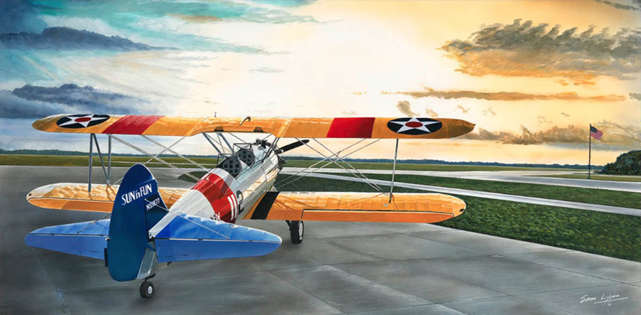 Aviation Art by Sam Lyons, Stearman Sunrise