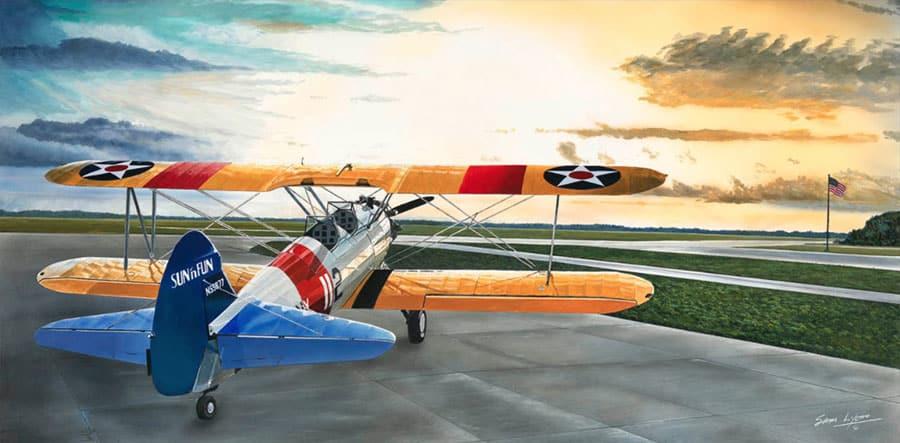 Aviation Art by Sam Lyons, Stearman Sunrise