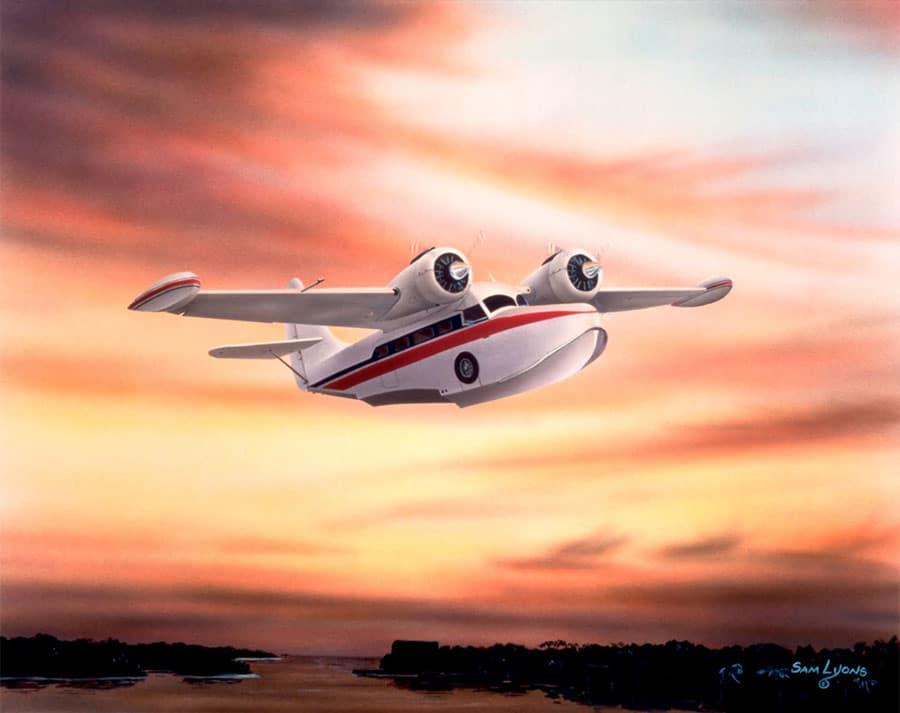 Aviation Art by Sam Lyons, Sunset Approach