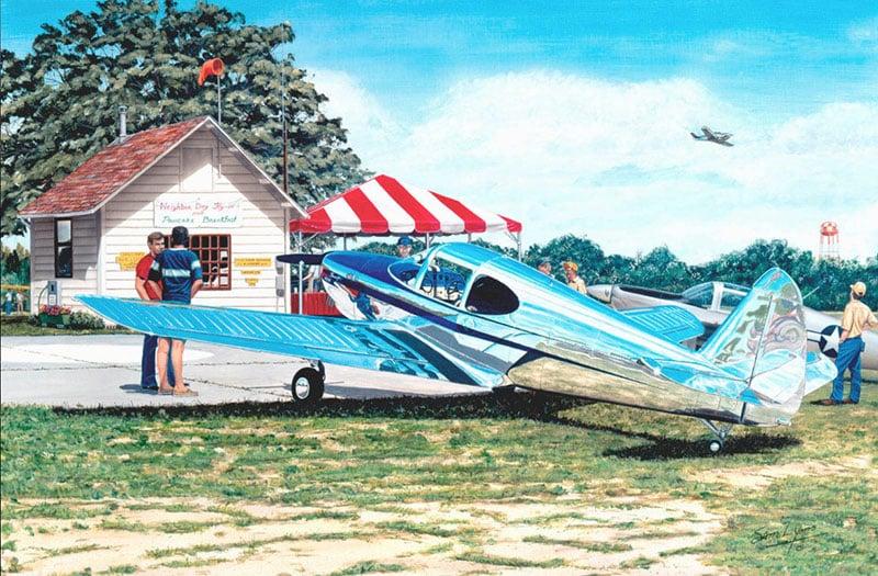 Aviation Art by Sam Lyons, Flying and Flapjacks