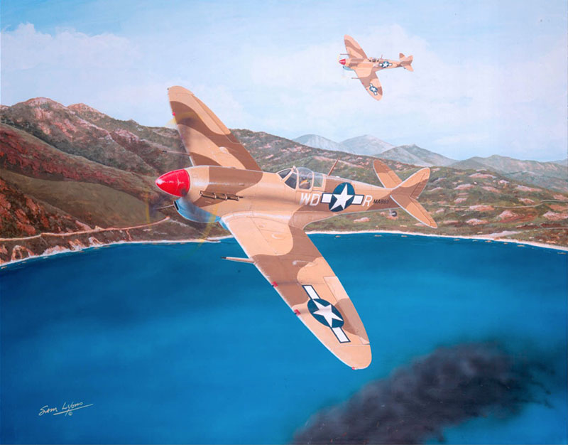 Aviation Art by Sam Lyons, Hoover's Fighting Spitfire