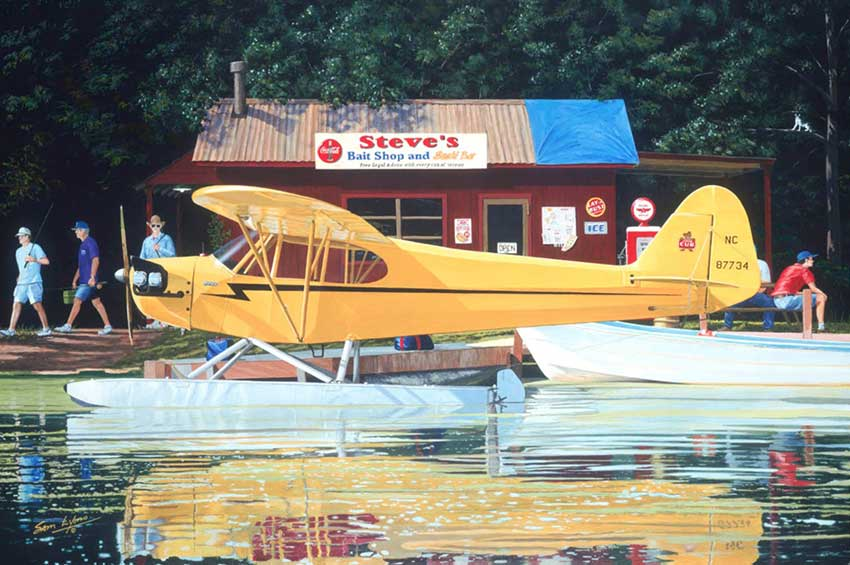Piper Cub on floats, titled 'Yellow Lure', Aviation Art by Sam Lyons