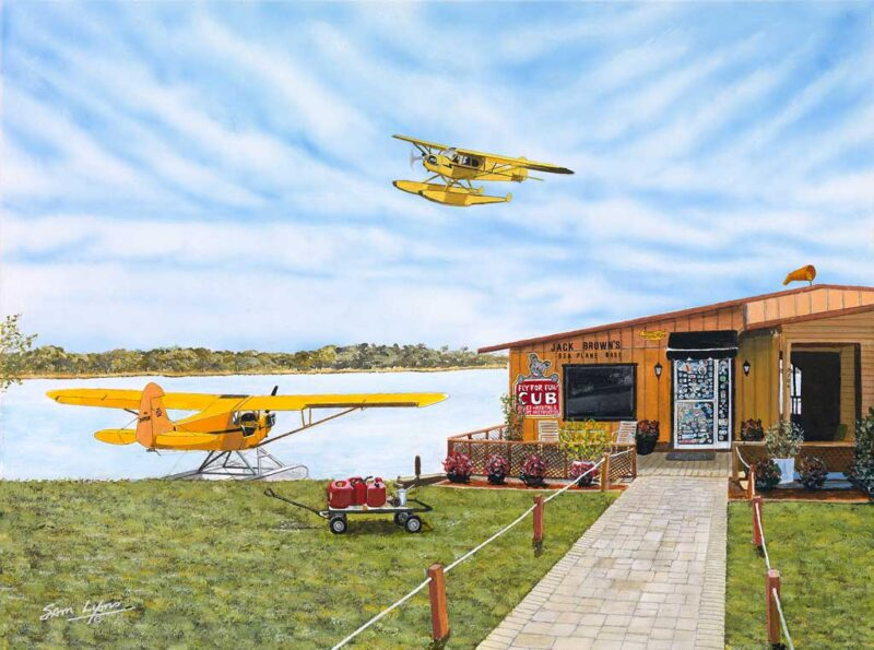 Liquid Dreams artwork depicts Seaplane Base in Winterhaven, FL. The print is from a recent painting by Sam Lyons of Lyons Studio.